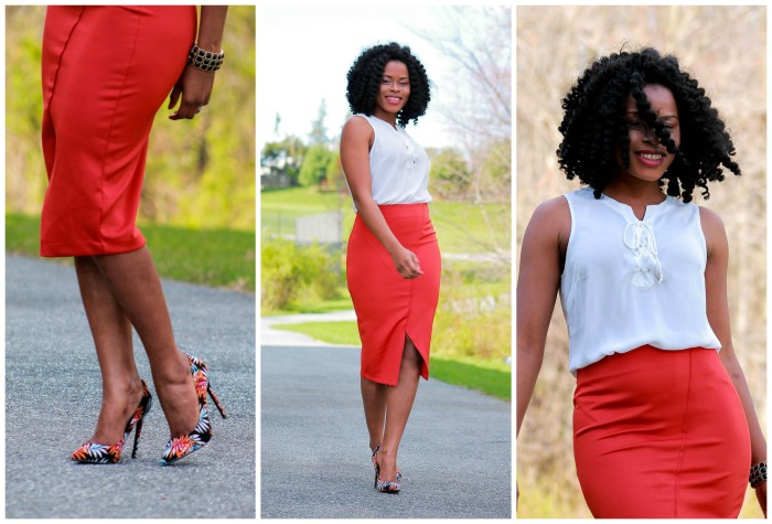 Orange skirt + white blouse