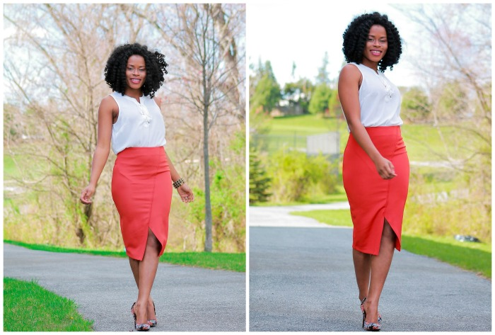 Orange skirt+white blouse
