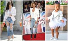 Balmain White Blazr Kim Kardashian, Alesha Dixon, North West