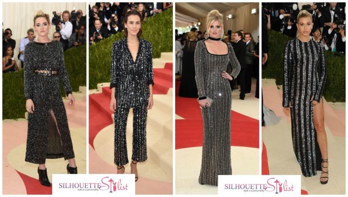 Black metallic dresses Kristen Stewart in Chanel, Alexa Chung in Thakoon,