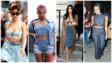 Denim Crop Top Rihanna, Beyonce, Kim Kardashian, Demi Lovato