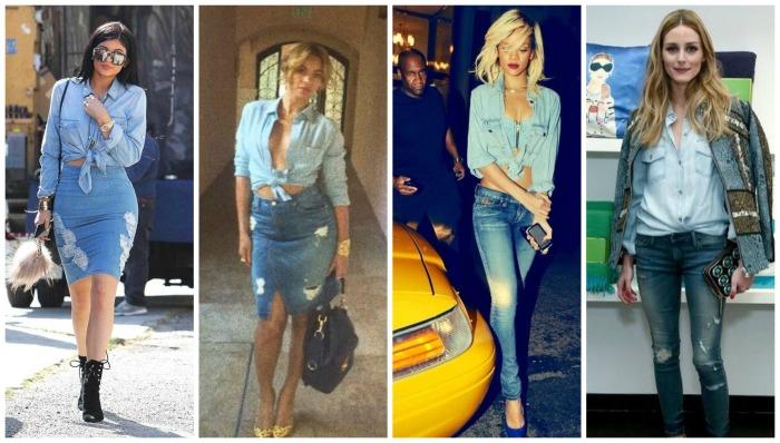 Denim Front tie up Kylie Jenner, Beyonce, Rihanna, Olivia Palermo