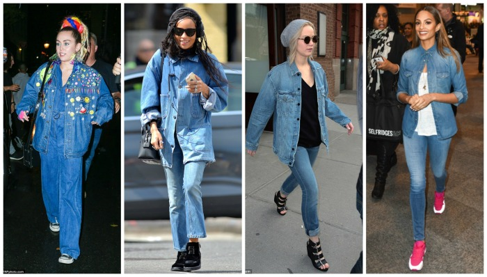 Denim on Denim Miley Cyrus, Zoë Kravitz, Jeniffer Lawrence, Alesha Dixon