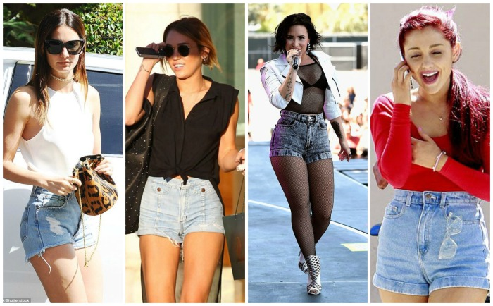 High Waisted Denim Shorts Demi Lovato, Ariana Grande, Miley Cyrus