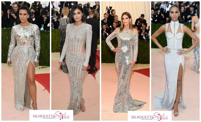 Metallic dresses Balmain - Kim Kardashian, Kylie Jenner, Cindy Crawford, Joan Smalls