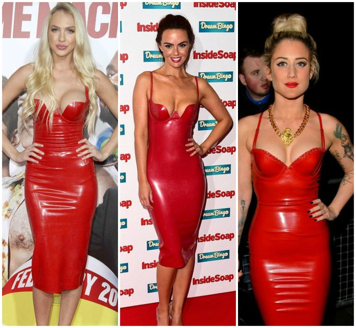 Red Bustier latex dress Jennifer Metcalfe, Christine Bently, Katie Weissel