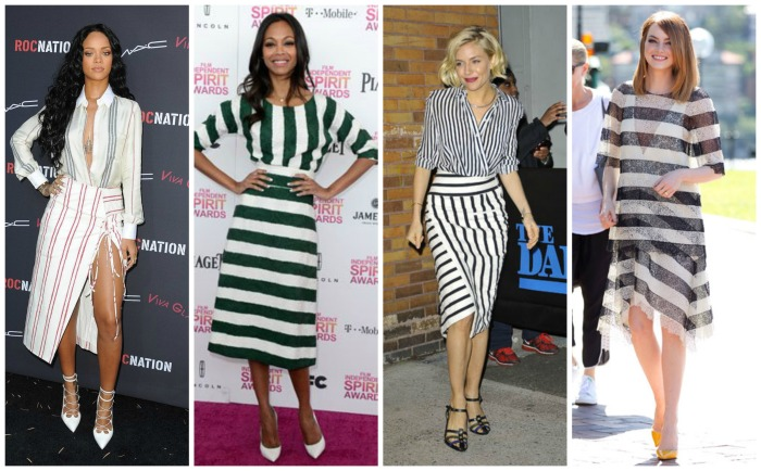 Rihanna, Zoe Saldana, Sienna Miller and Emma Stone in stripes