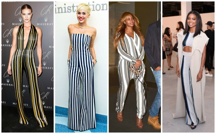 Rosie Huntington, Miley Cyrus, Beyonce and Gabrielle Union in Stripy jumpsuits