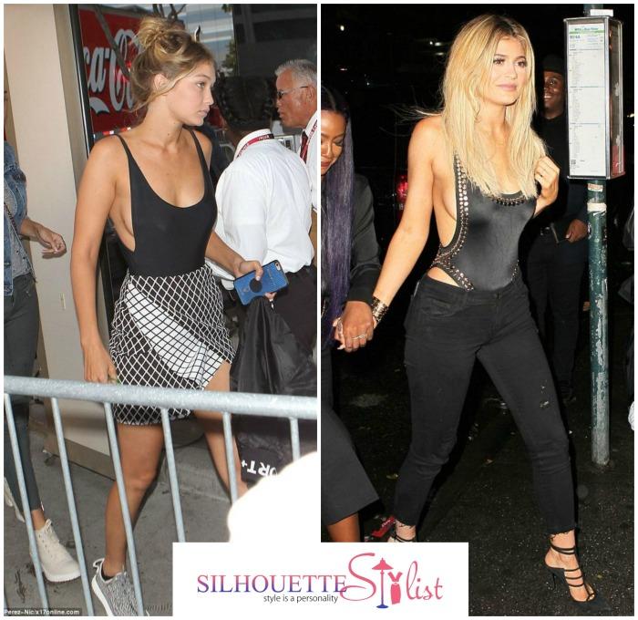 Sideboob plunge neckline body suits Gigi Hadid Vs. Kylie Jenner